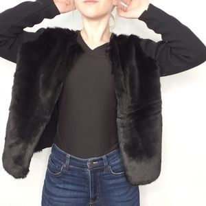 Banana Republic Factory Black Faux Fur Cardigan